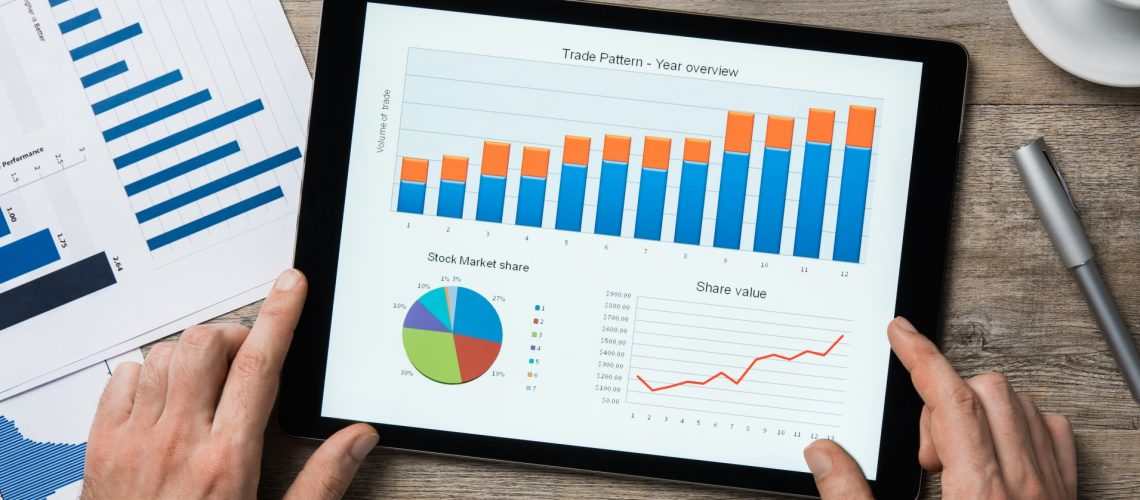 Top view of digital tablet with financial year overview on scree